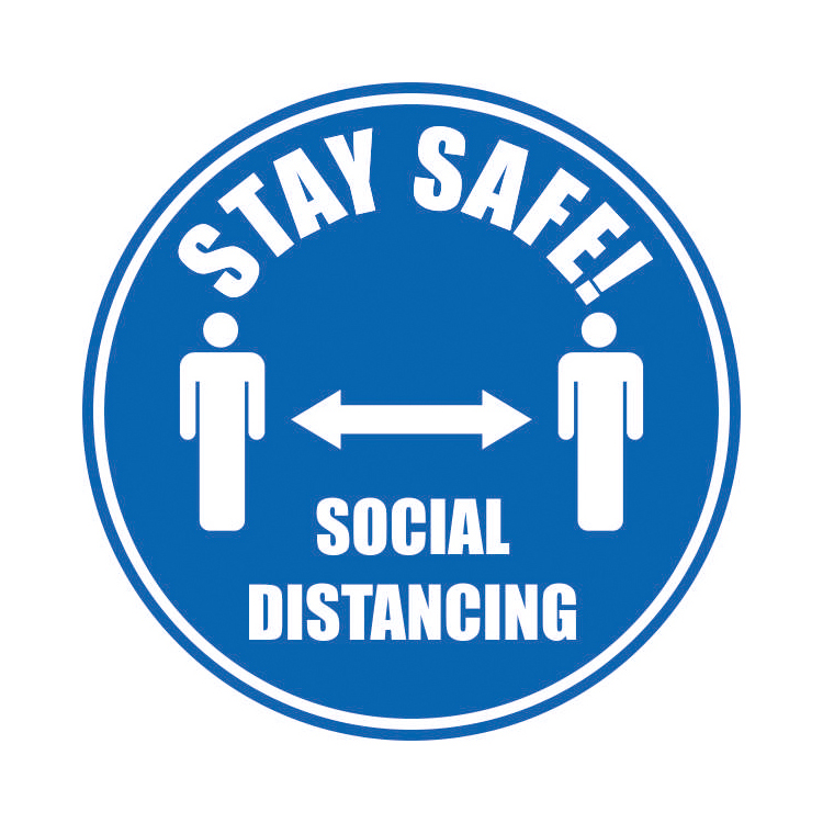 Safety signs Stay Safe Social Distancing Floor Marker Blue 430mm Diameter Self Adhesive