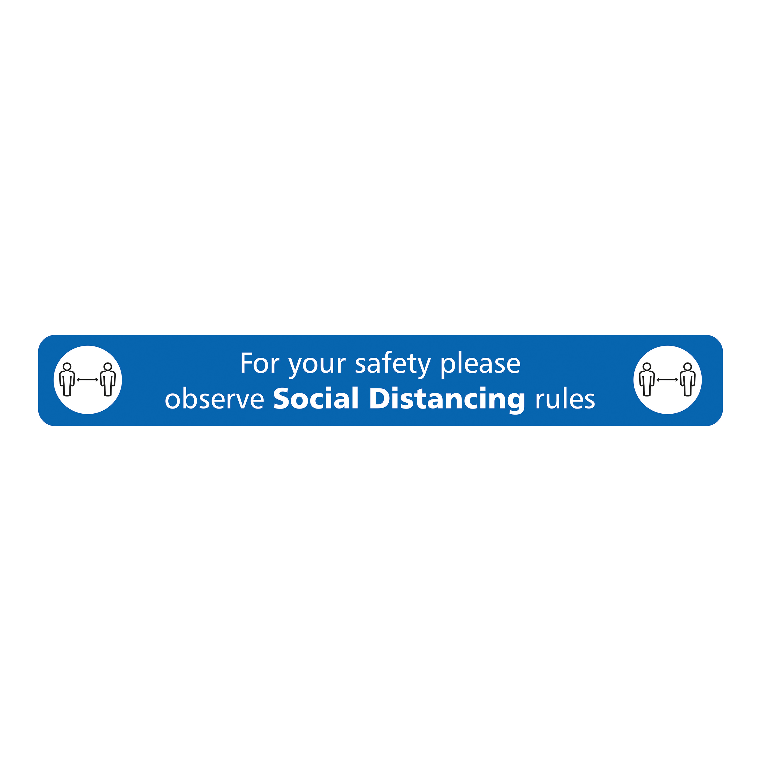 Safety signs Social Distancing Floor Sign Blue  600x80mm Self Adhesive , with Anti Slip Laminate
