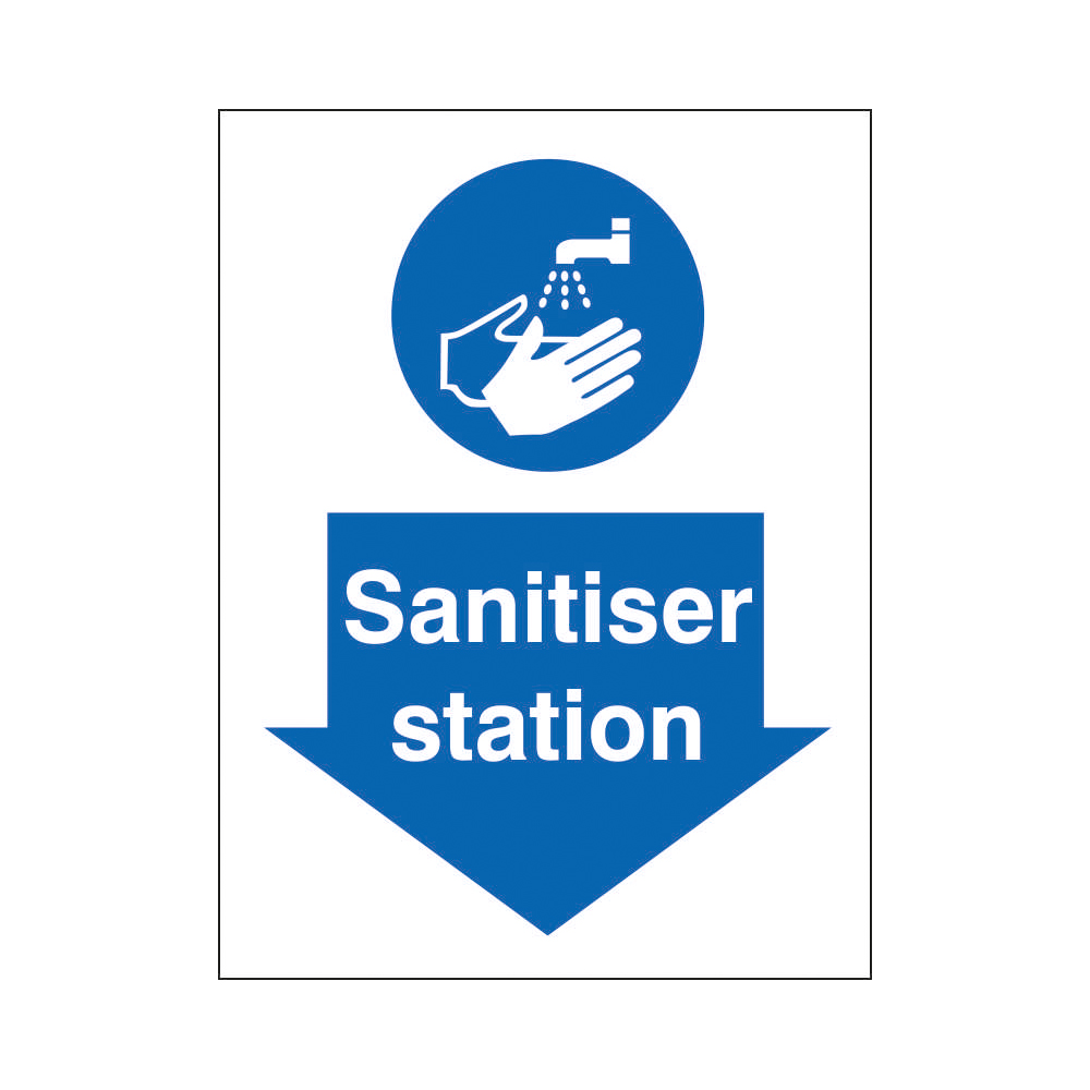 Safety signs Sanitiser Station Sign 200x300mm Self Adhesive Vinyl