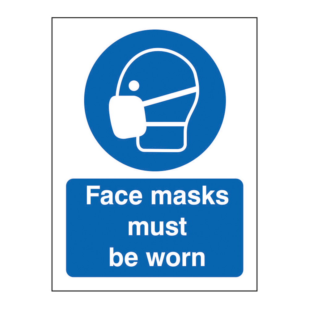 Safety signs Face Masks Must Be Worn Sign 200 x 300mm Self Adhesive Vinyl