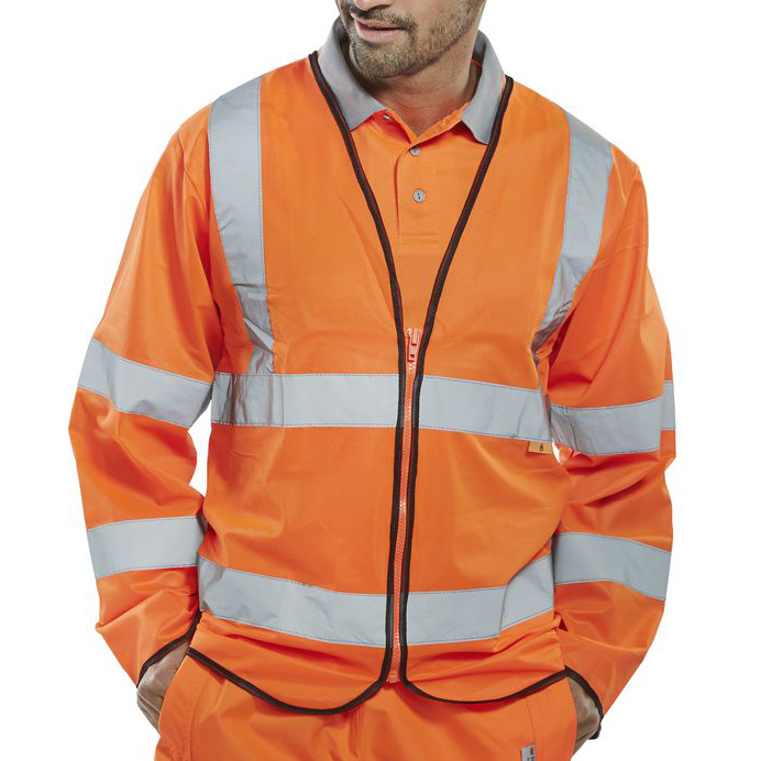 Click Fire Retardant Hi-Vis Jerkin Long Slv Large Orange Ref CFRPKJORL *Up to 3 Day Leadtime*