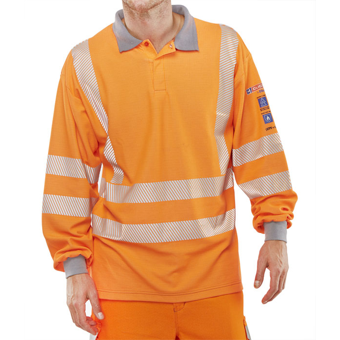 Click Arc Flash Polo Shirt Hi-Vis GO/RT Fire Retardant L Orange Ref CARC51ORL *Up to 3 Day Leadtime*