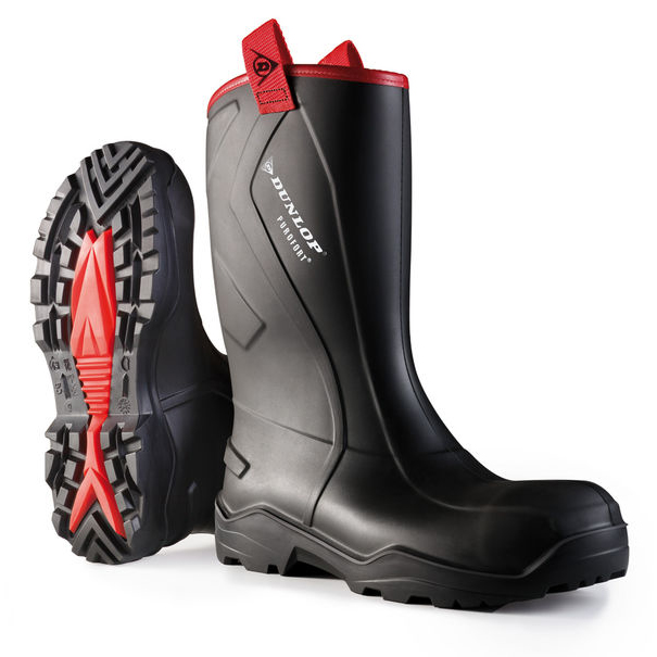 Dunlop Purofort Plus Rugged Safety Rigger Boots Size 12 Black Ref C76204312 *Up to 3 Day Leadtime*