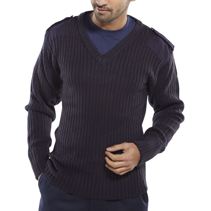Sweatshirts / Jumpers / Hoodies Click Workwear Sweater Military Style V-Neck Acrylic M Navy Blue Ref AMODVNM *Up to 3 Day Leadtime*