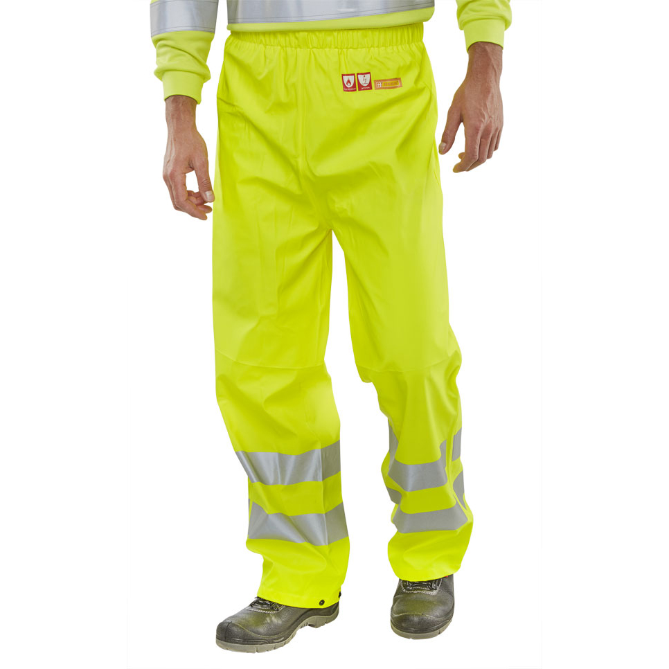 High Visibility BSeen Trousers Fire Retardant Anti-static Hi-Vis S Sat Yellow Ref CFRLR52SYS *Up to 3 Day Leadtime*