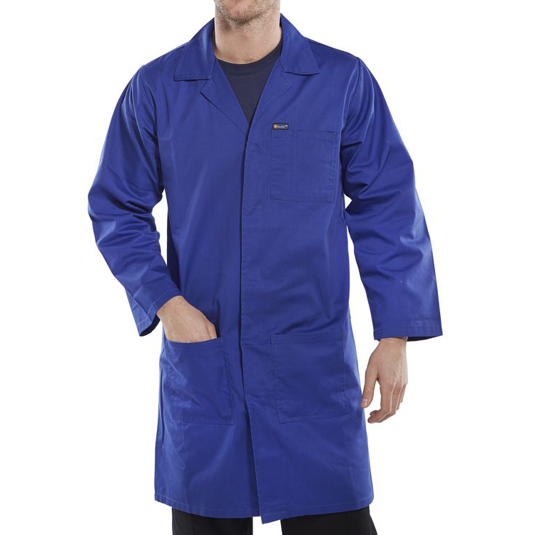 Click Workwear Poly Cotton Warehouse Coat 48in Royal Blue Ref PCWCR48 Up to 3 Day Leadtime