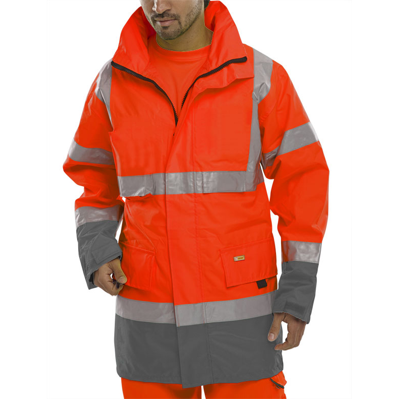 B-Seen Hi-Vis Two Tone Breathable Traffic Jacket Large Red/Grey Ref BD109REGYL *Up to 3 Day Leadtime*