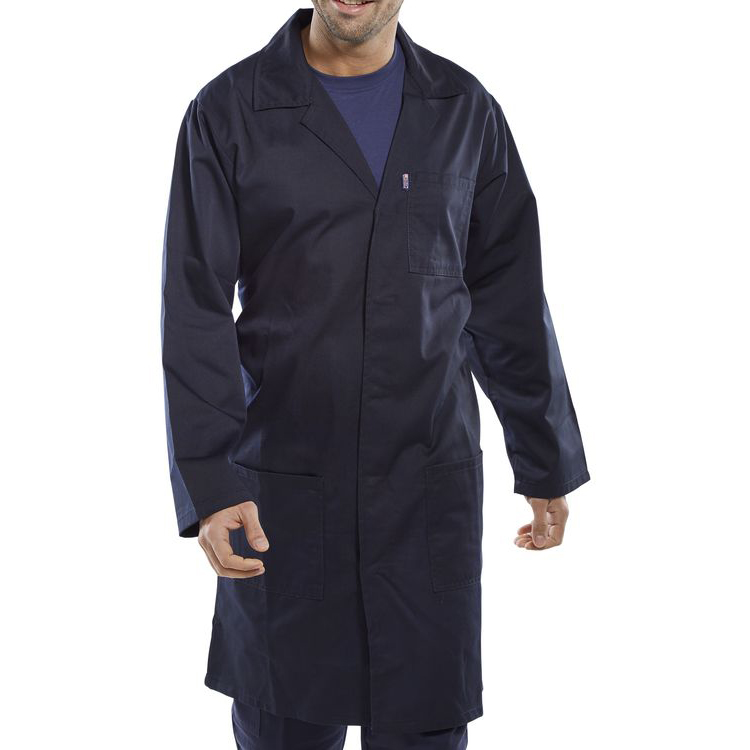 Click Workwear Poly Cotton Warehouse Coat 58in Navy Blue Ref PCWCN58 *Up to 3 Day Leadtime*