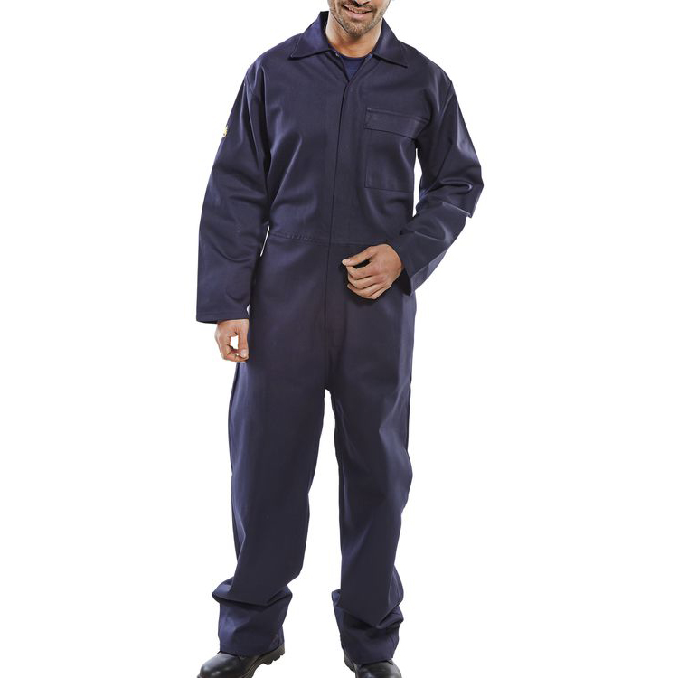 Click Fire Retardant Boilersuit Cotton Size 42 Navy Blue Ref CFRBSN42 Up to 3 Day Leadtime