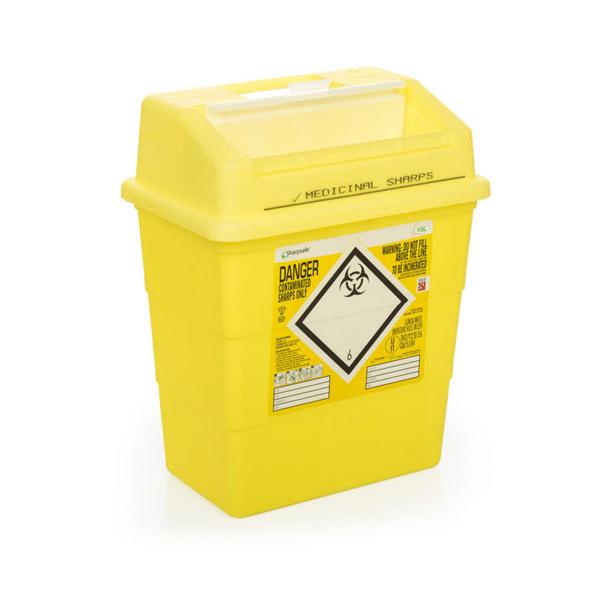 Click Medical Sharps Bin Temporary & Final Closure Feature 13L Yellow Ref CM0647 Up to 3 Day Leadtime