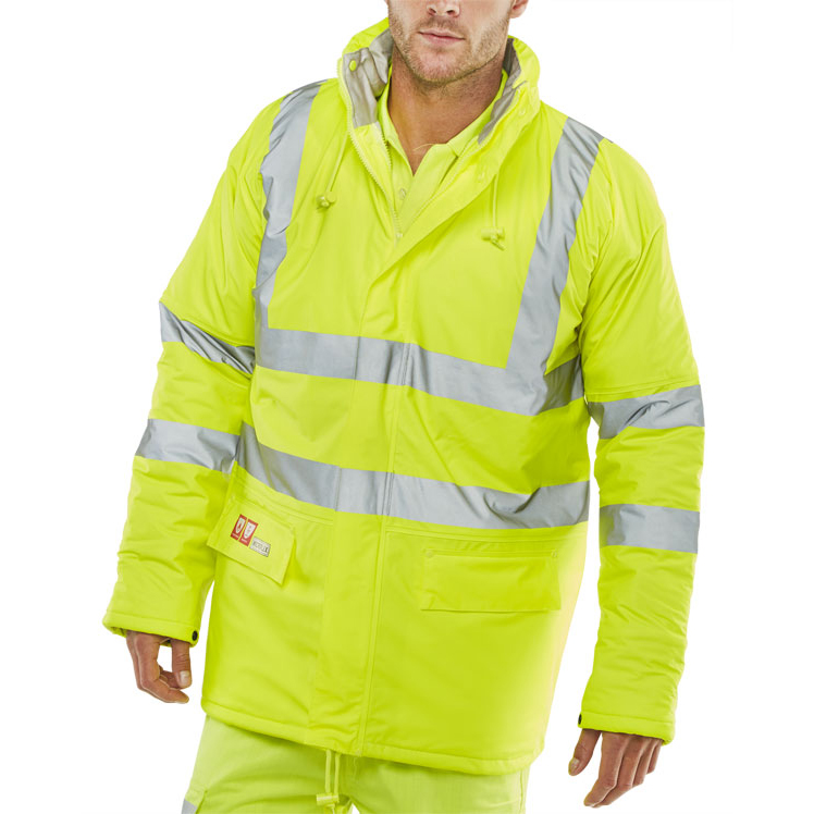 Weatherproof Click Fire Retardant Jacket Anti-static 3XL Saturn Yellow Ref CFRLR3456SYXXXL *Up to 3 Day Leadtime*