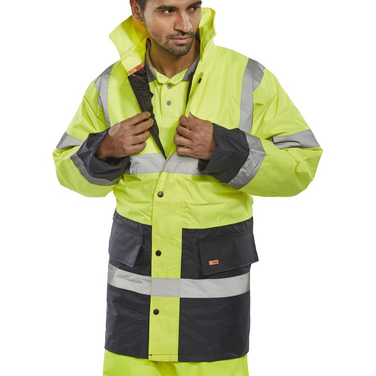 BSeen Hi-Vis Heavyweight Two Tone Traffic Jacket Large Yellow/Navy Ref TJSTTENGSYNL Upto 3 Day Leadtime