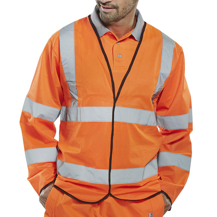 BSeen High Visibility Long Sleeve Jerkin Large Orange Ref PKJENGORL*Up to 3 Day Leadtime*