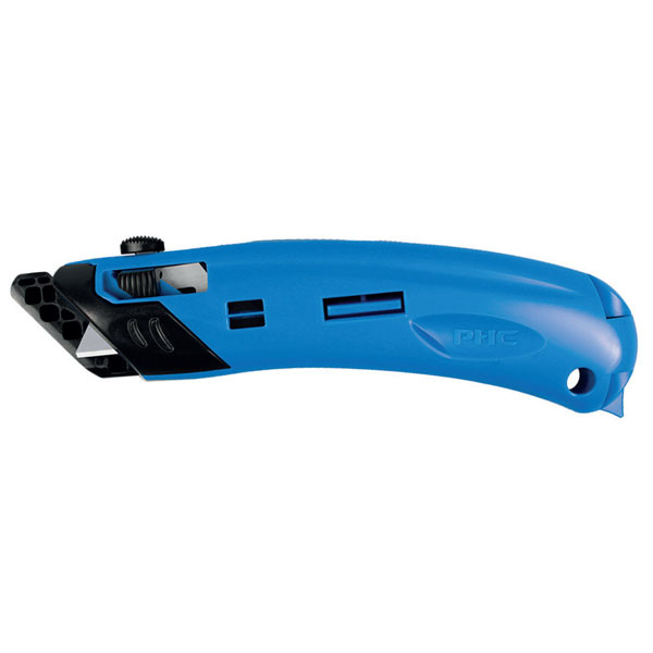 Pacific Handy Cutter Guarded Spring Back Safety Knife Ambidextrous Blue Ref EZ-4 Up to 3 Day Leadtime