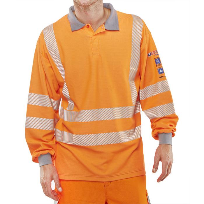 Click Arc Flash Polo Shirt Hi-Vis GO/RT Fire Retardant M Orange Ref CARC51ORM *Up to 3 Day Leadtime*