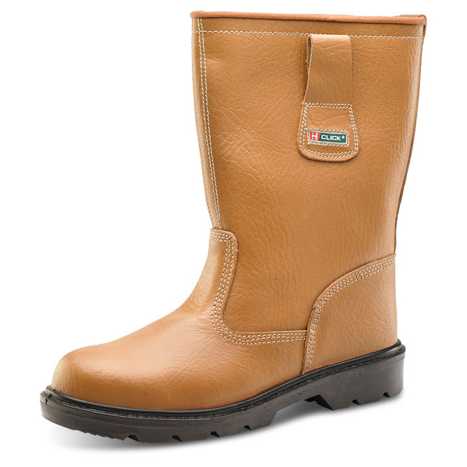 Click Footwear Rigger Boot Unlined Steel Toe Cap PU/Leather Size 4 Tan Ref RBUS04Up to 3 Day Leadtime