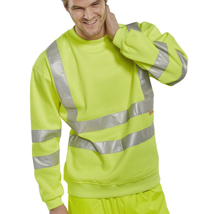B-Seen Sweatshirt Hi-Vis Polyester 280gsm 5XL Saturn Yellow Ref BSSENSY5XL *Up to 3 Day Leadtime*