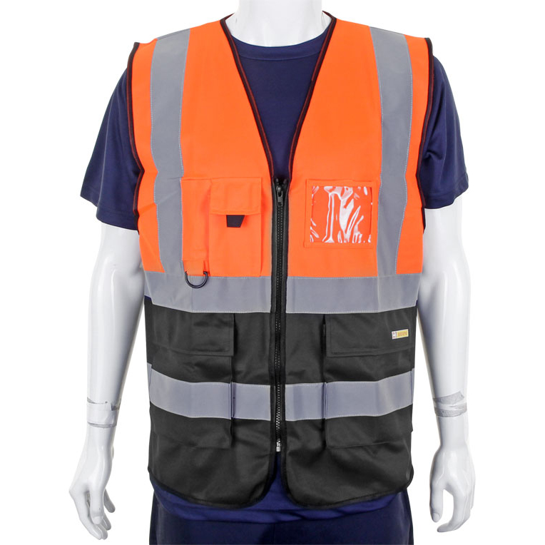 High Visibility BSeen High-Vis Two Tone Executive Waistcoat Large Orange/Black Ref HVWCTTORBLL *Up to 3 Day Leadtime*