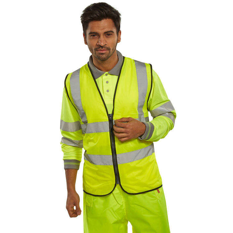 Body Protection B-Seen High Visibility Waistcoat Zip Fasten Large Saturn Yellow Ref WCENGSYZL *Up to 3 Day Leadtime*