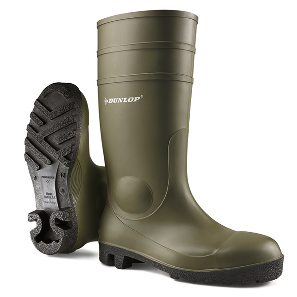 Dunlop Protomaster Safety Wellington Boot Steel Toe PVC 10.5 Green Ref 142VP10.5 *Up to 3 Day Leadtime*