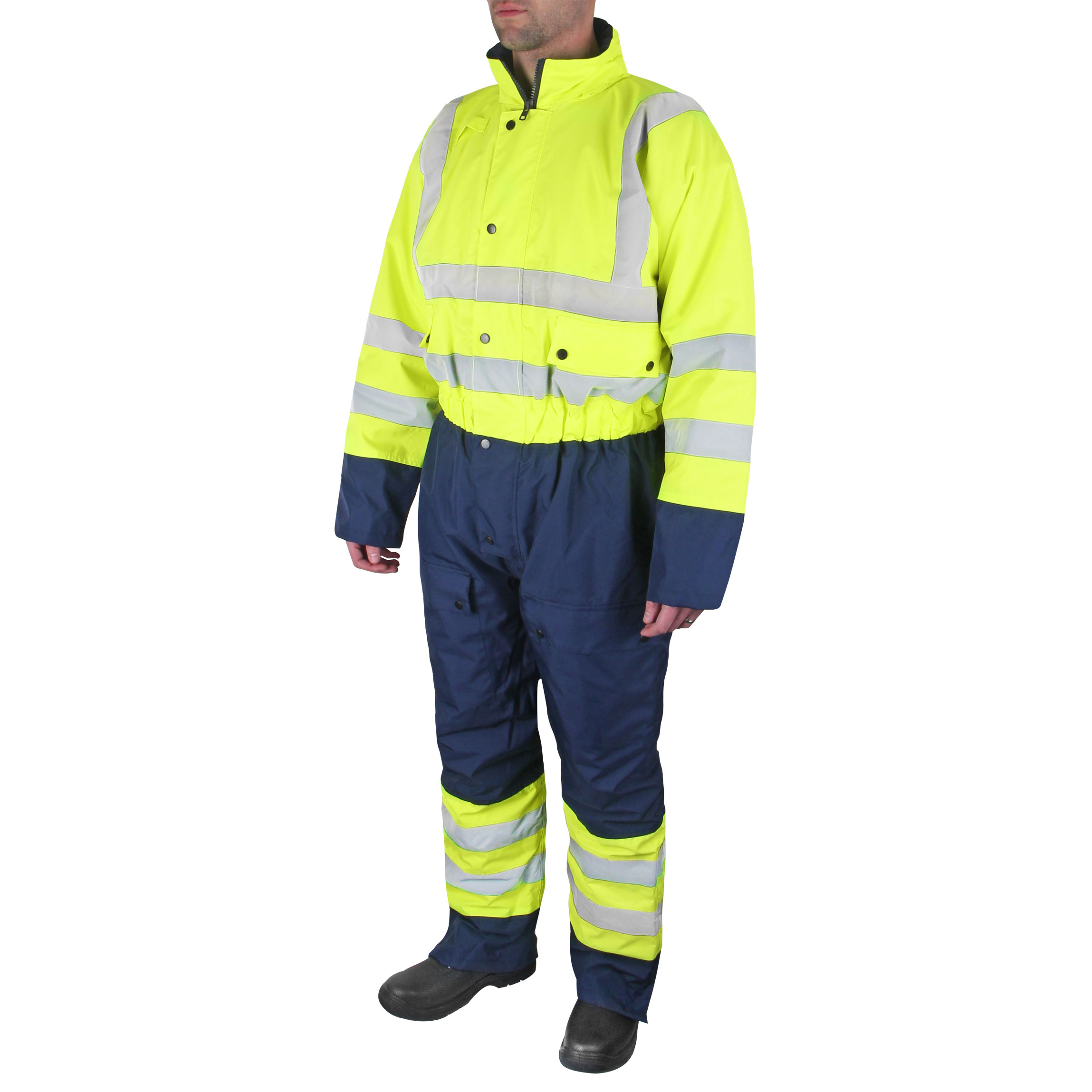 B-Seen Hi-Vis Thermal Waterproof Coveralls L Yellow/Navy Ref BD900SYNL *Up to 3 Day Leadtime*
