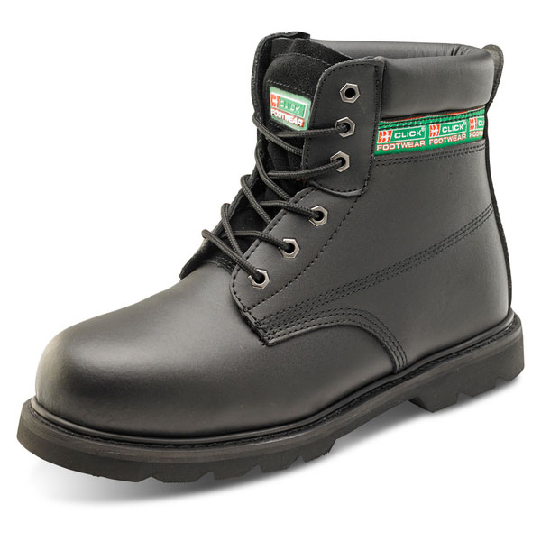 Click Footwear Goodyear Welted 6in Boot Leather Size 6.5 Black Ref GWBMSBL06.5 *Up to 3 Day Leadtime*