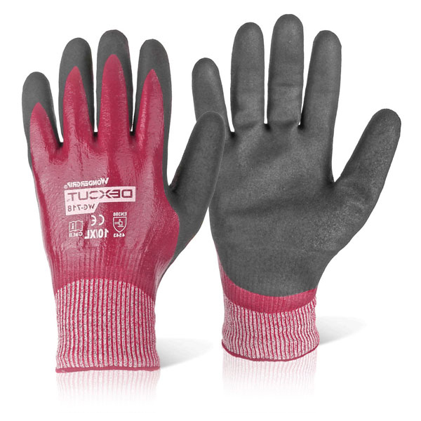 Wonder Grip WG-718 Dexcut Nitrile Coated Glove Large Grey Ref WG718L Up to 3 Day Leadtime