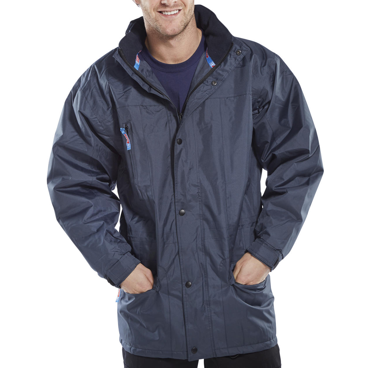 B-Dri Weatherproof Guardian Jacket Concealed Hood Medium Navy Blue Ref GU88PNM Up to 3 Day Leadtime
