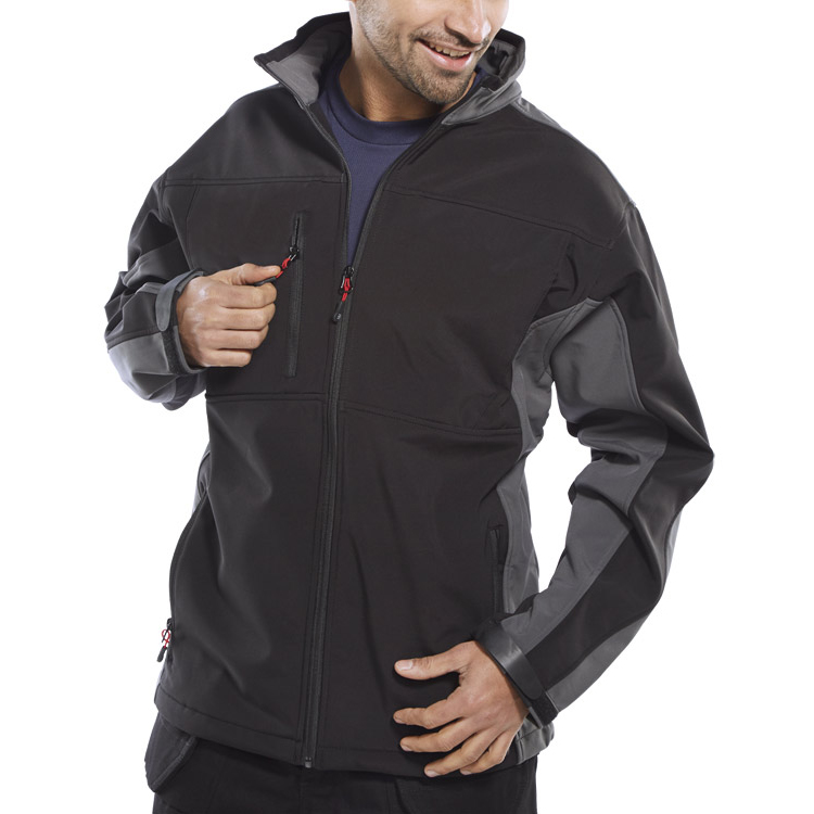 Weatherproof Click Workwear Two Tone Soft Shell Jacket Large Black/Grey Ref SSJTTBLGYL *Up to 3 Day Leadtime*