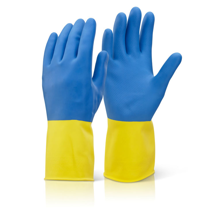 Click2000 Two Colour Heavyweight Glove Yellow/Blue L Ref BCYBL [Pack 10] Up to 3 Day Leadtime