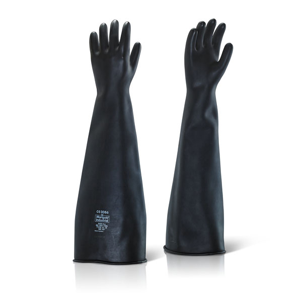 Ansell Industrial Latex Medium Weight 24inch Gauntlet Black Size 08 Ref ILMW2408 Up to 3 Day Leadtime