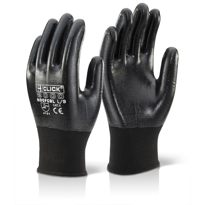 Click2000 Nitrile Coated Polyester Medium Gloves Black Ref NDGFCBLM [Pack 10] Up to 3 Day Leadtime
