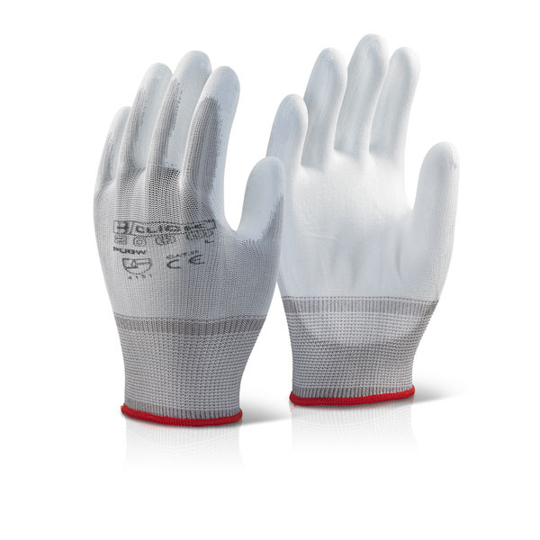 Click2000 Pu Coated Gloves White L Ref PUGWL [Pack 100] Up to 3 Day Leadtime