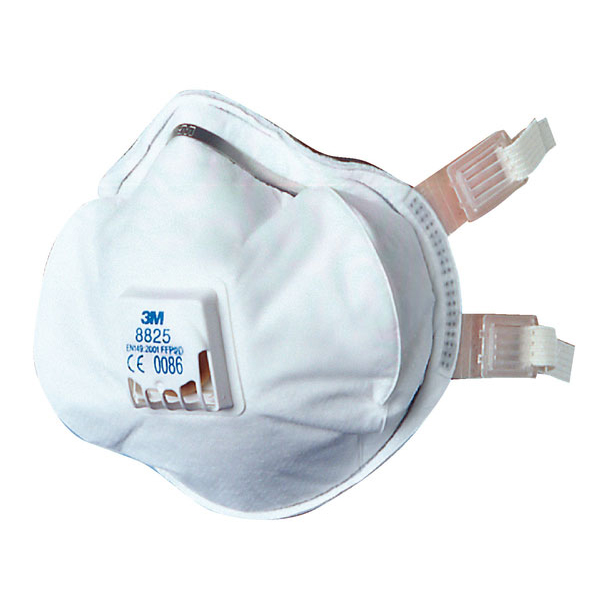 3M Mask P2V R Premium Buckle Strap Respirator White Ref 8825 [Pack 5] Up to 3 Day Leadtime