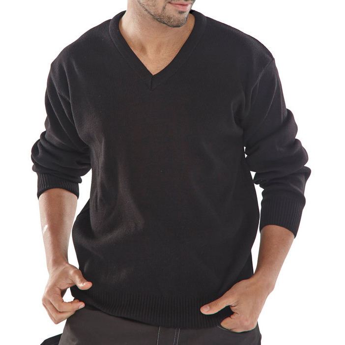 Sweatshirts / Jumpers / Hoodies Click Workwear Sweater V-Neck Acrylic L Black Ref ACSVBLL *Up to 3 Day Leadtime*