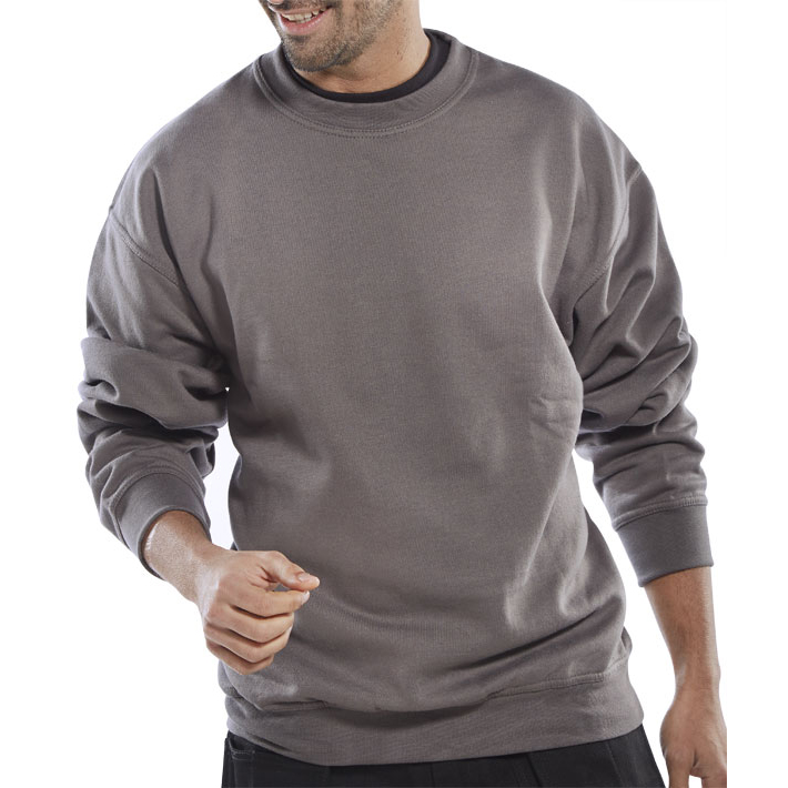Sweatshirts / Jumpers / Hoodies Click Workwear Sweatshirt Polycotton 300gsm L Grey Ref CLPCSGYL *Up to 3 Day Leadtime*