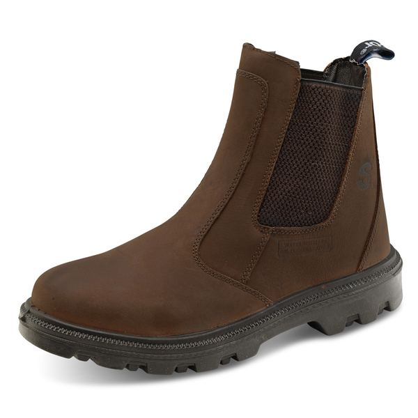 Click Footwear Sherpa Dealer Boot PU Rubber/Leather Size 10 Brown Ref SDB10 *Up to 3 Day Leadtime*