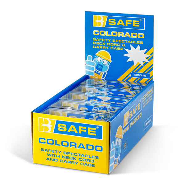 B-Safe Colorado Safety Spectacles Neck Cord and Case Clear Ref BS015 [Pack 10] Up to 3 Day Leadtime