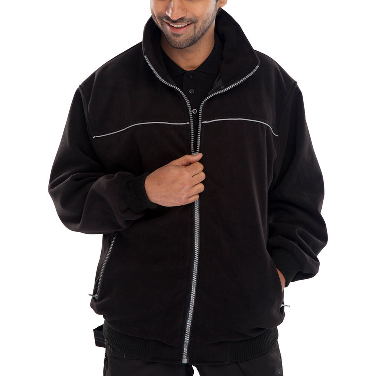 Click Workwear Endeavour Fleece with Full Zip Front Large Black Ref EN29BLL *Up to 3 Day Leadtime*