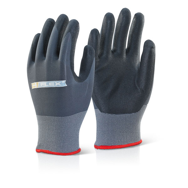 B-Flex Nitrile Pu Mix Coated Glove Black/Grey L [Pack 100] Ref BF1L *Up to 3 Day Leadtime*