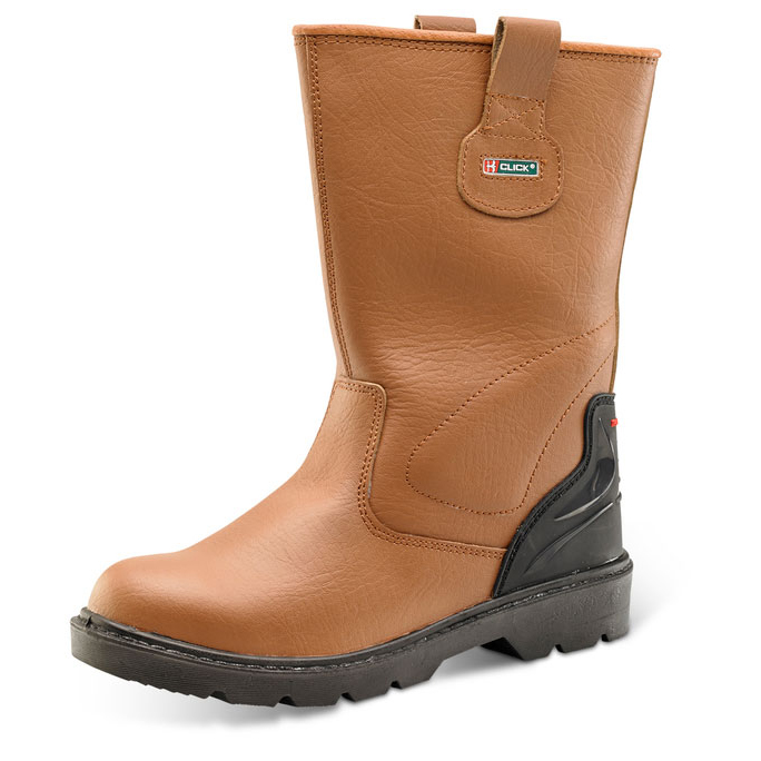 Click Footwear Premium Rigger Boot TPU Heel PU/Leather Lined Size 7 Tan Ref CF807 *Up to 3 Day Leadtime*