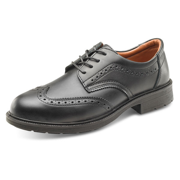 Click Footwear Brogue Shoe S1 PU/Leather Upper Size 8 Black Ref SW201108 *Up to 3 Day Leadtime*