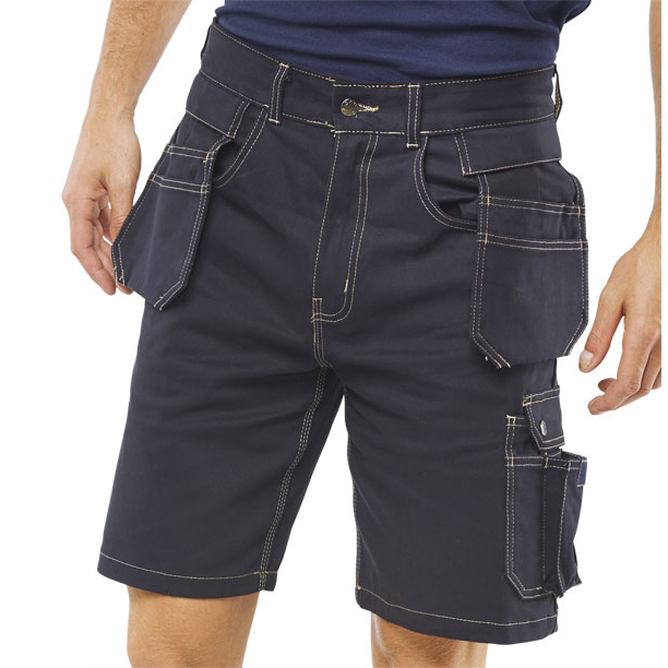 Body Protection Click Workwear Grantham Multi-Purpose Pocket Shorts Navy Blue 30 Ref GMPSN30 *Up to 3 Day Leadtime*