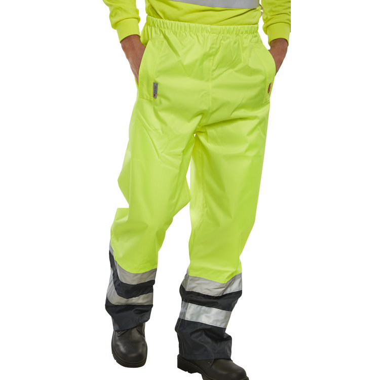 B-Seen Belfry Over Trousers Polyester Hi-Vis XL Yellow/Navy Blue Ref BETSYNXL *Up to 3 Day Leadtime*