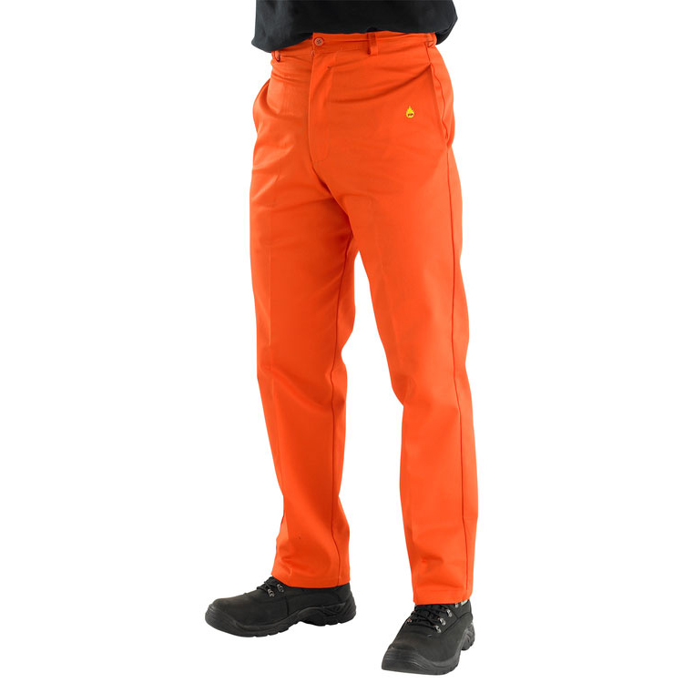 Click Fire Retardant Trousers 300g Cotton 32 Orange Ref CFRTOR32 *Up to 3 Day Leadtime*