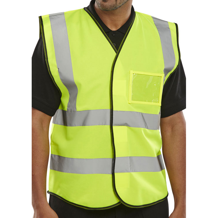 B-Seen High Visibility Waistcoat ID M Saturn Yellow Ref BD108SYM Pack 10 *Up to 3 Day Leadtime*