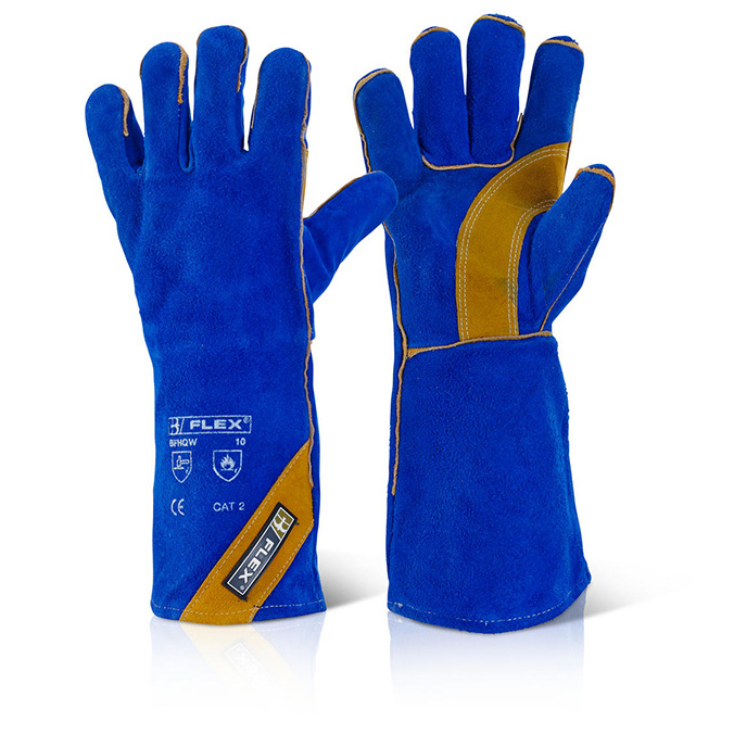 B-Flex Cat Ii Blue Gold Welder Glove Blue Ref BFHQW [Pack 10] *Up to 3 Day Leadtime*