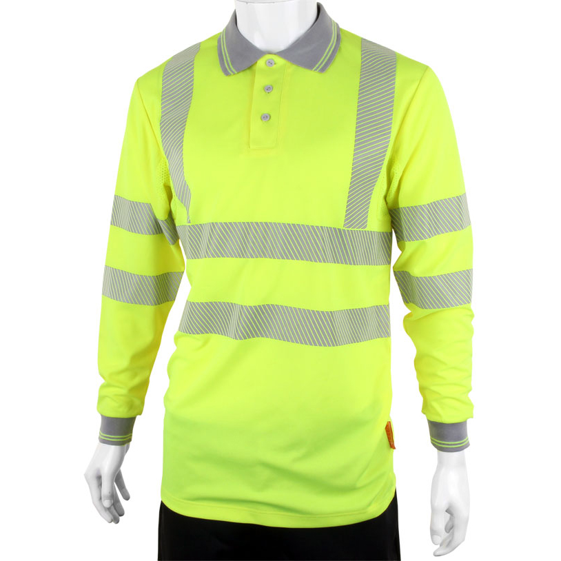B-Seen Executive Polo Long Sleeve Hi-Vis Medium Saturn Yellow Ref BPKEXECLSSYM *Up to 3 Day Leadtime*