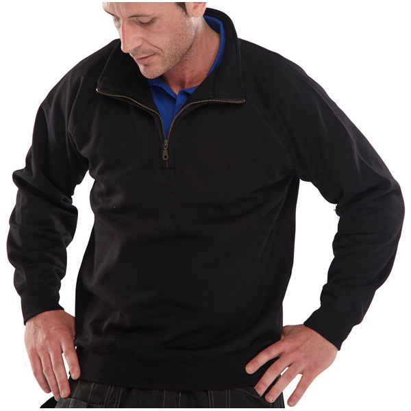 Click Workwear Sweatshirt Quarter Zip 280gsm S Black Ref CLQZSSBLS Up to 3 Day Leadtime