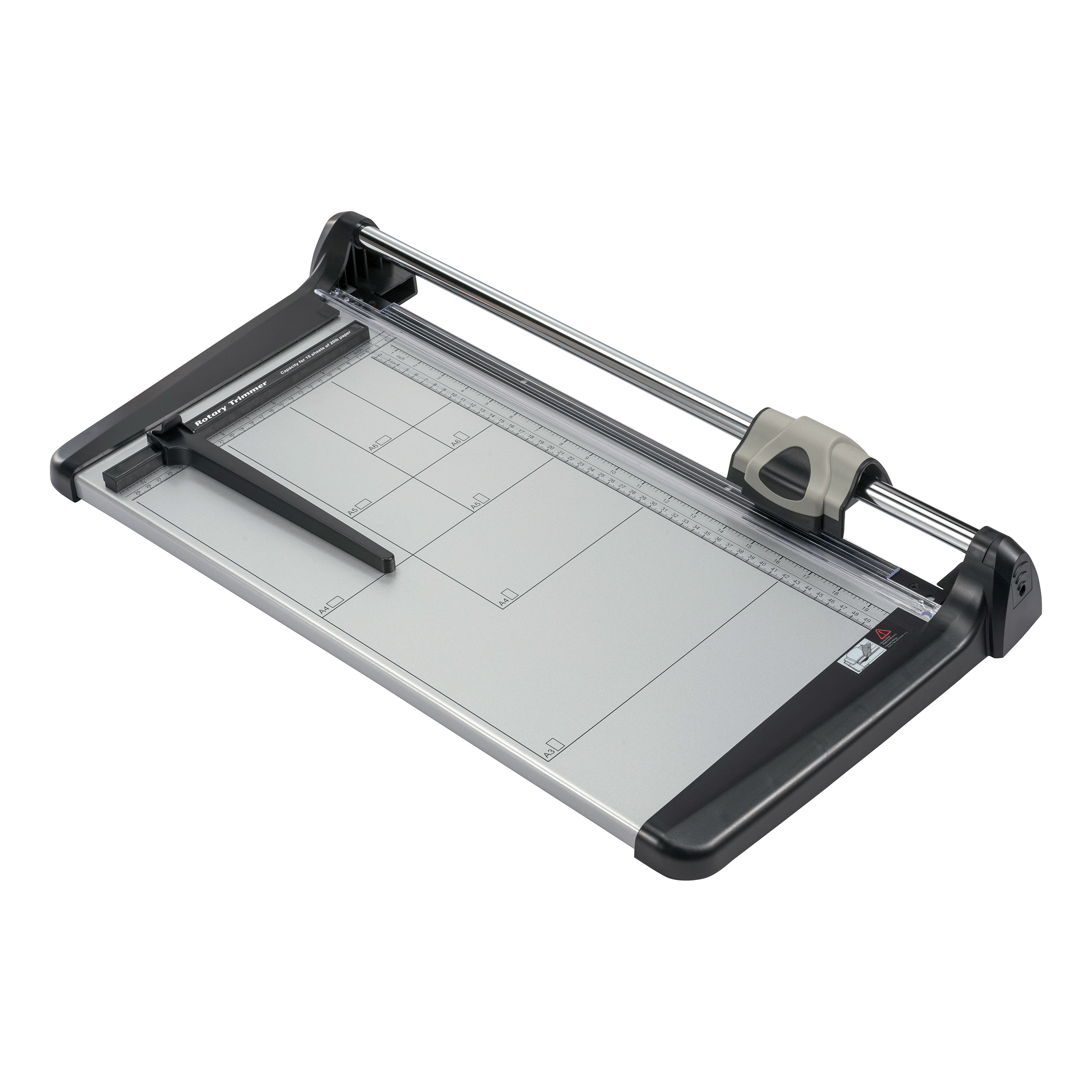 5 Star Office Trimmer Heavy Duty Steel Table Capacity 15 sheets Cutting Length 480mm A3 Silver/Black
